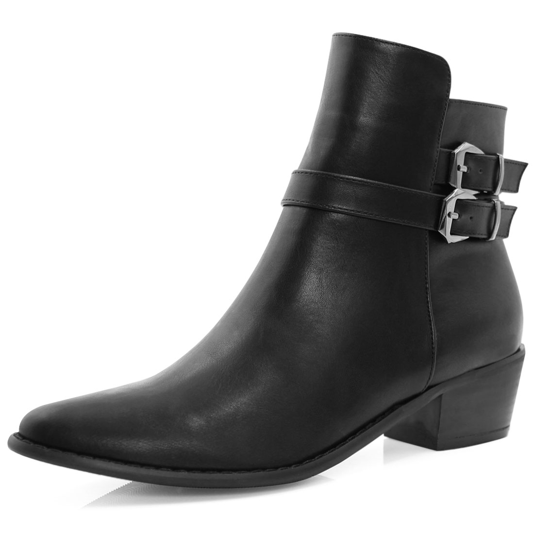 Women Pointed Toe Buckled Strap Zipper Ankle Boots Black US 10.5