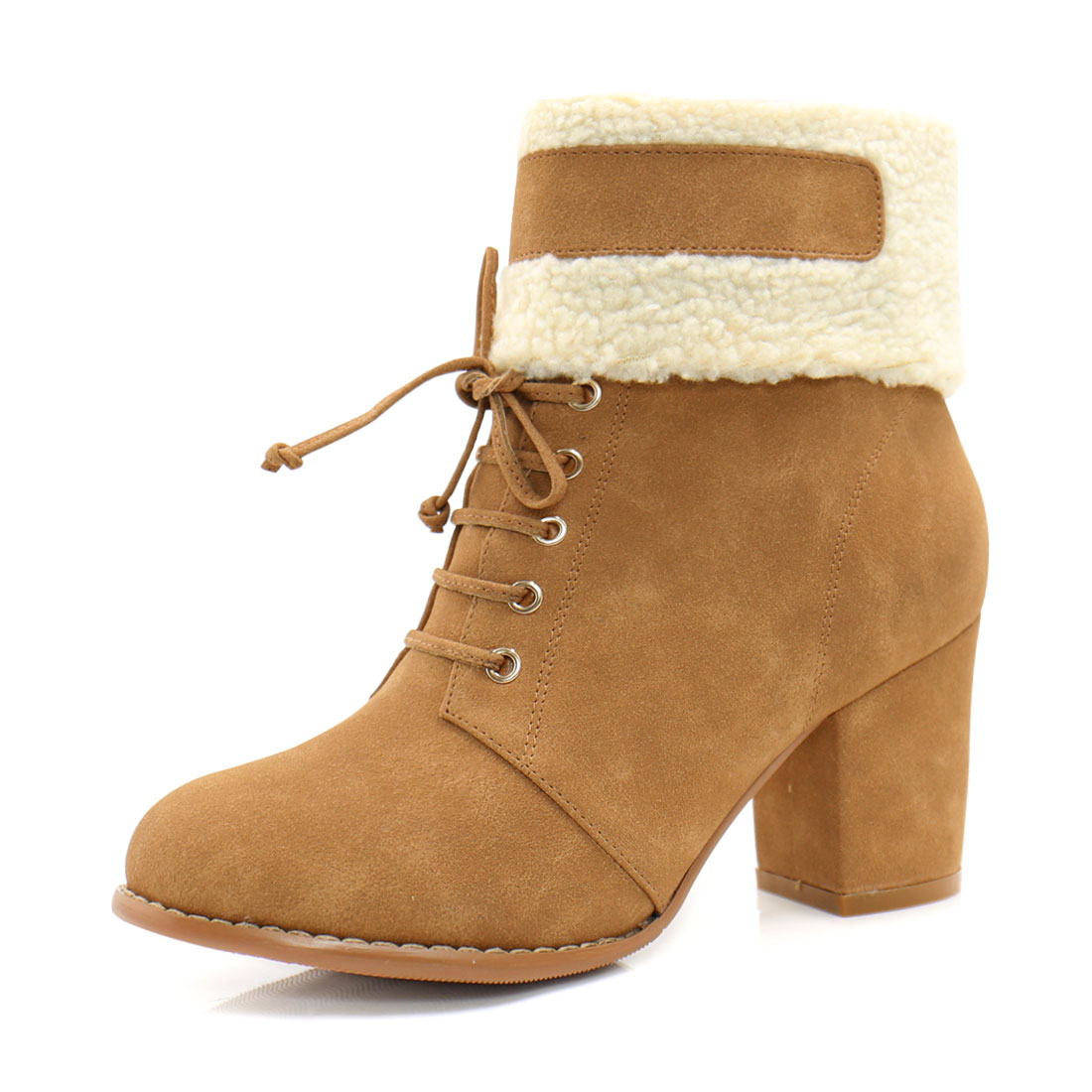 Women Plush Trim Chunky Heel Lace Up Decor Ankle Boots Camel US 7