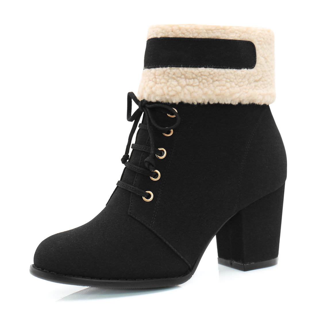 Women Plush Trim Chunky Heel Lace Up Decor Ankle Boots Black US 9