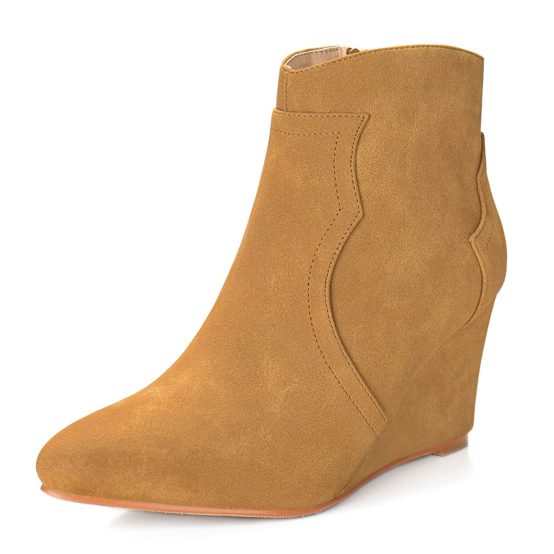 Women Pointed Toe Zipper Wedge Heel Ankle Booties Camel US 6