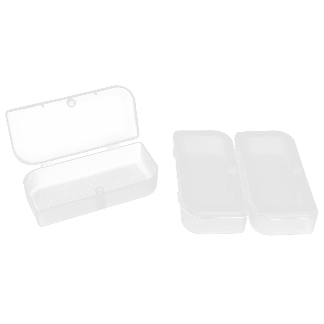 Plastic Rectangular Shape Earphone Storage Case Box Holder Container Clear 3 PCS