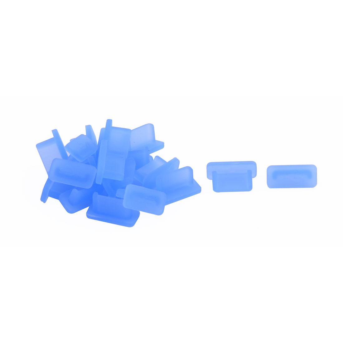 PC Phone Rubber Female Port Anti Dust Cover Cap Blue 20pcs for USB Type C