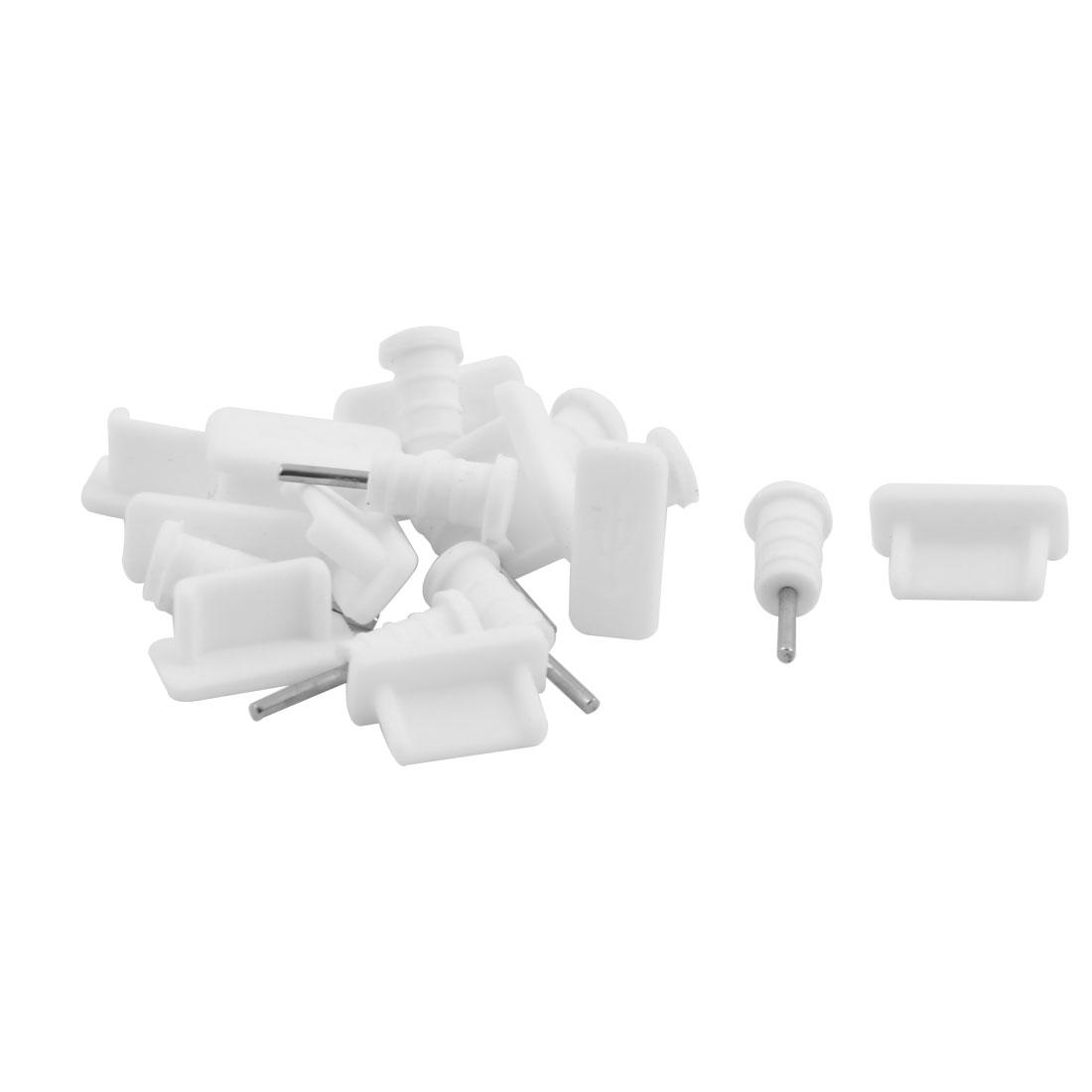 Silicone Earphone Dock Port Anti Dust Cap White 10 Set for Type C Phone