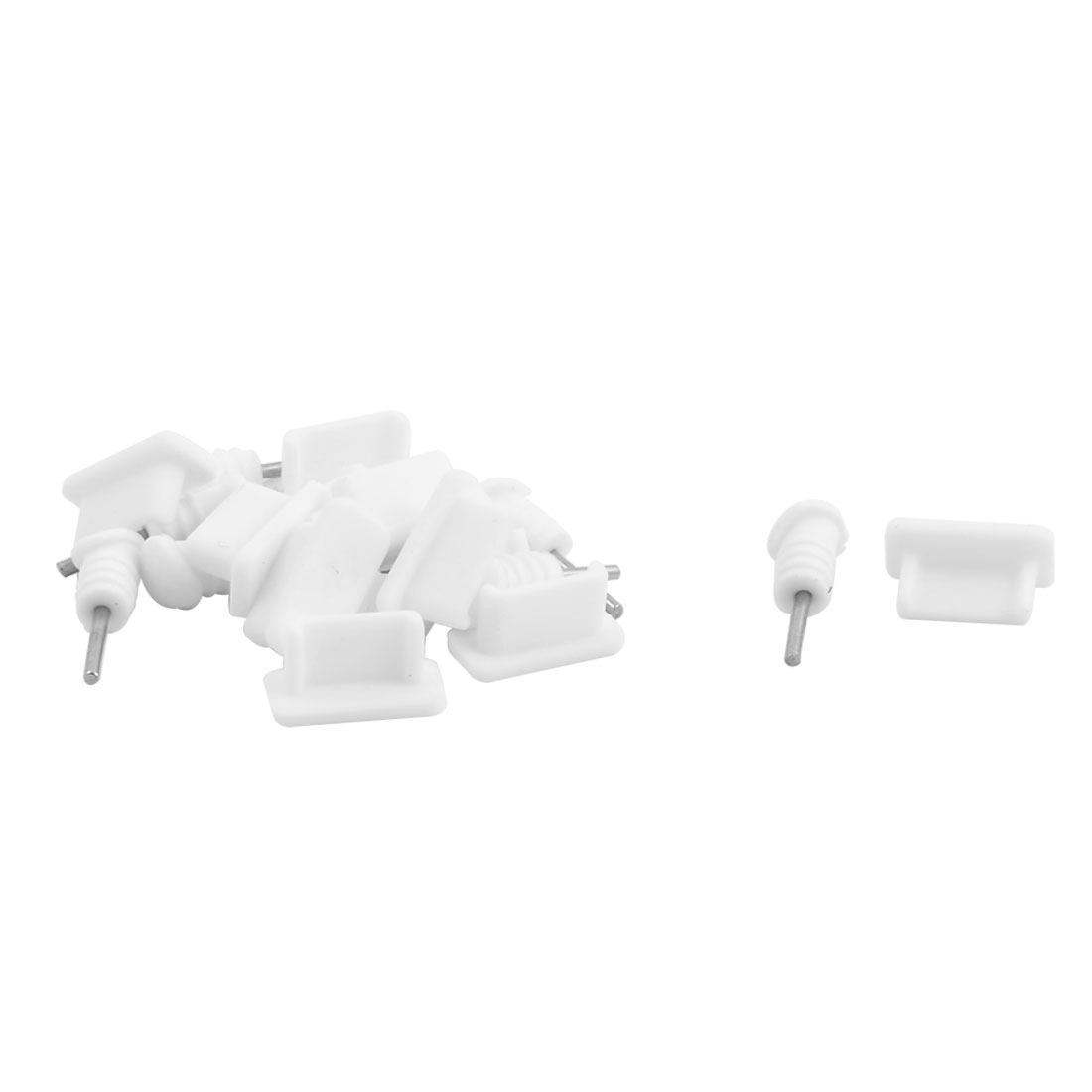 3.5mm Earphone Charge Port Dock Anti Dust Stopper White 10 Set for Type C Phone