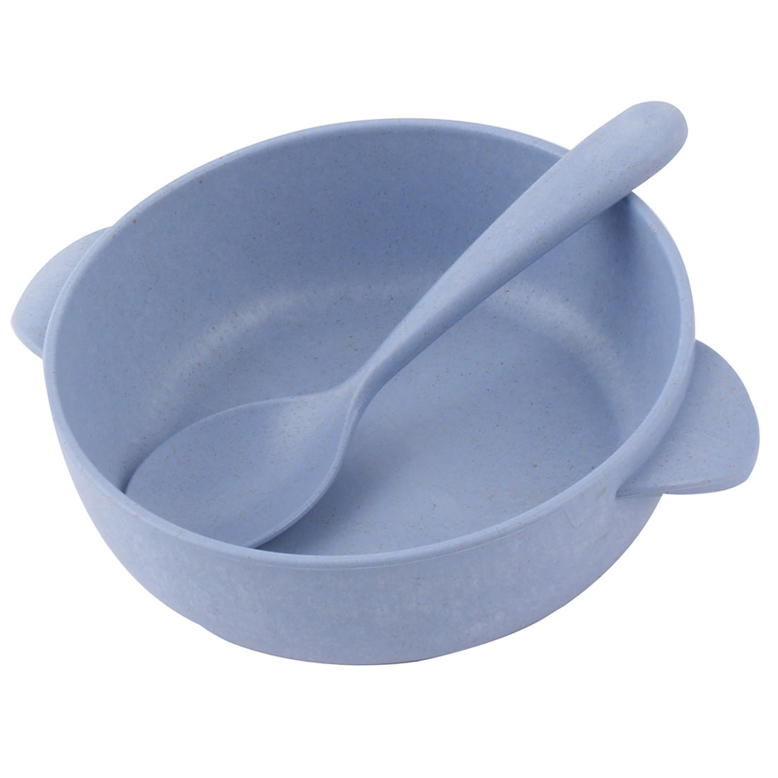 Household Tableware Plastic Round Shaped Food Container Bowl Spoon Light Blue
