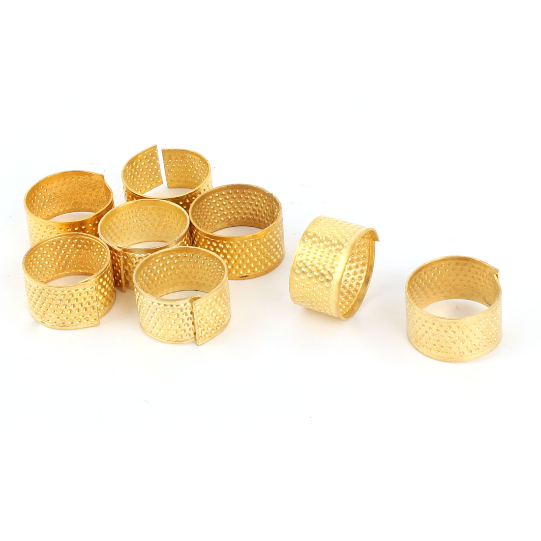 Tailors Metal Finger Protector Sewing Needle Stitching Thimble Rings Gold Tone 8pcs