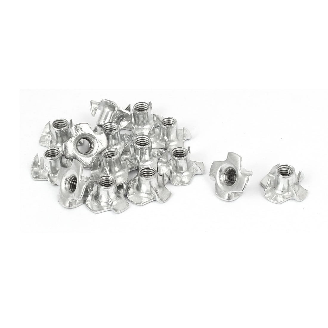 Furniture M6 Thread 9mm Length Metal 4 Prong Tee Nuts Insert Connectors 15pcs