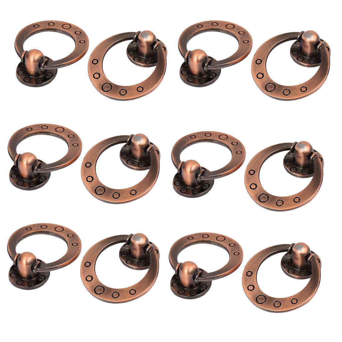 Cupboard Wardrobe Drawer Round Base Pull Ring Handle Grip Copper Tone 12pcs