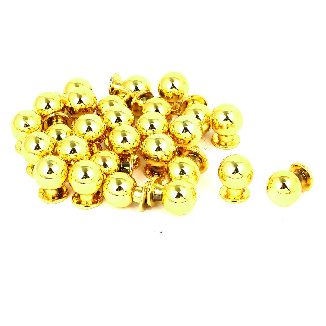Wardrobe Drawer Metal Round Pull Knob Grip Grasp Gold Tone 17mm x 22mm 25pcs