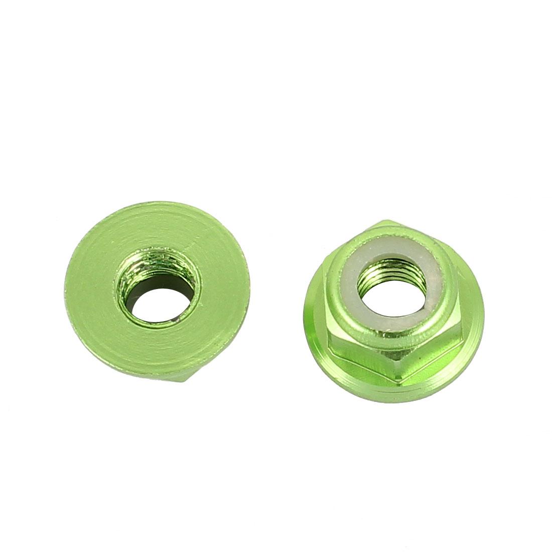 M5 Aluminum Alloy Green Flange Nut For RC Remote Vehicle DIY 2 Pcs