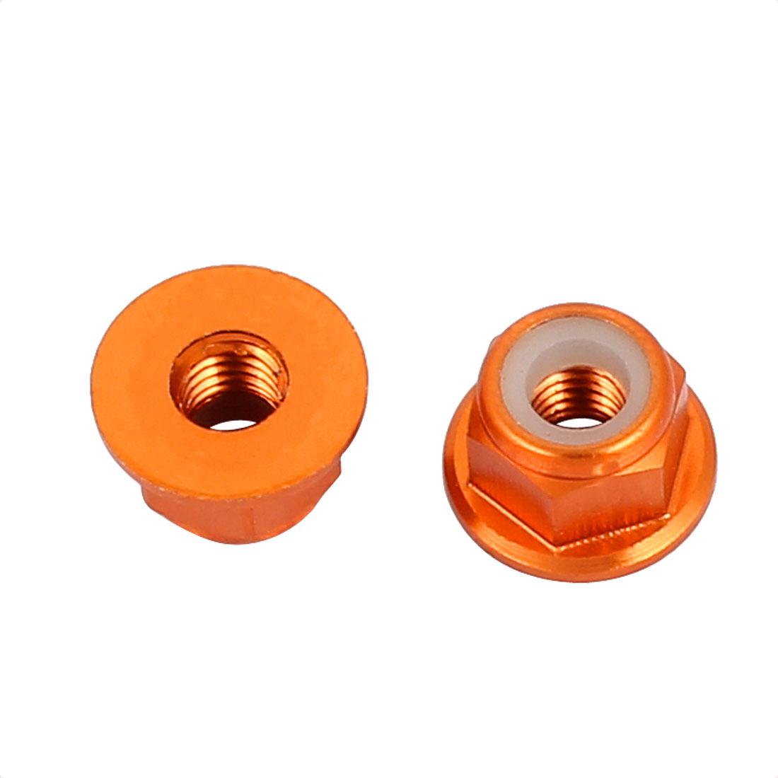 M3 Aluminum Alloy Orange Flange Nut For RC Remote Vehicle DIY 2 Pcs