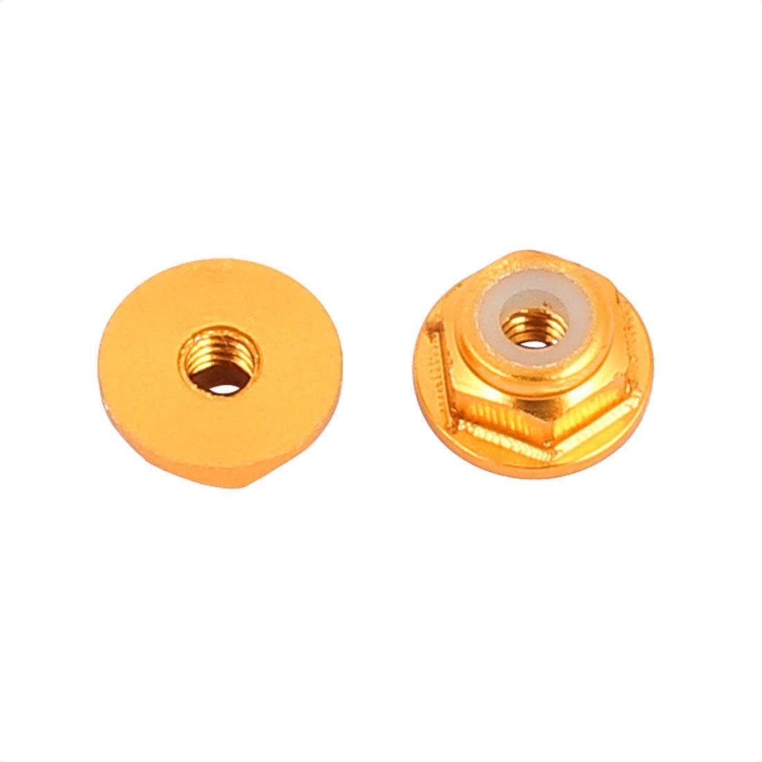 M2 Aluminum Alloy Golden Tone Flange Nut For RC Remote Vehicle DIY 2 Pcs