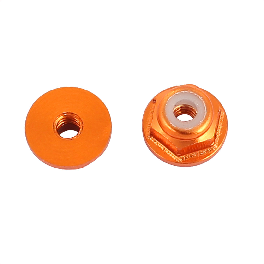 M2 Aluminum Alloy Orange Flange Nut For RC Remote Vehicle DIY 2 Pcs