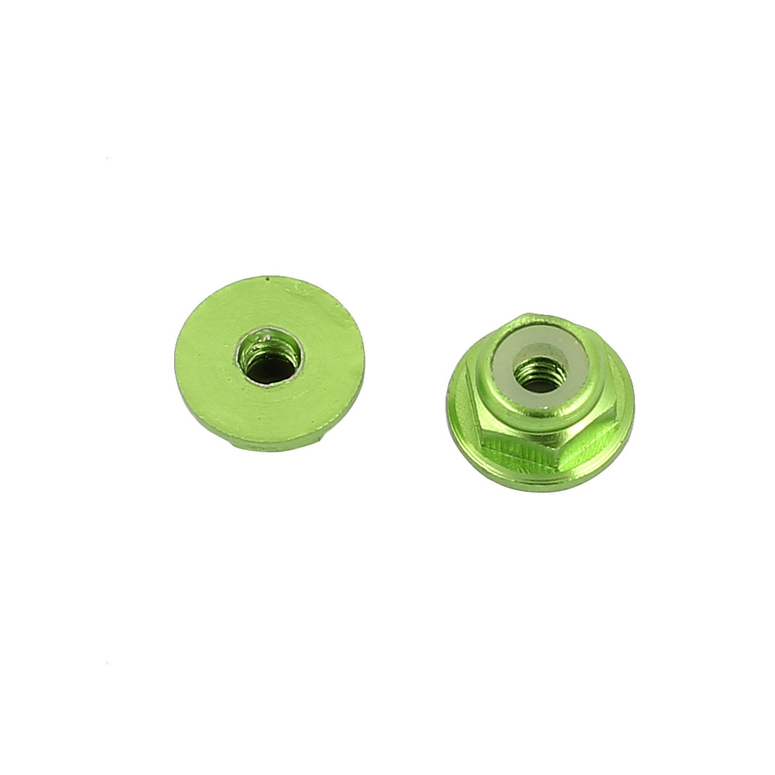 M2 Aluminum Alloy Green Flange Nut For RC Remote Vehicle DIY 2 Pcs