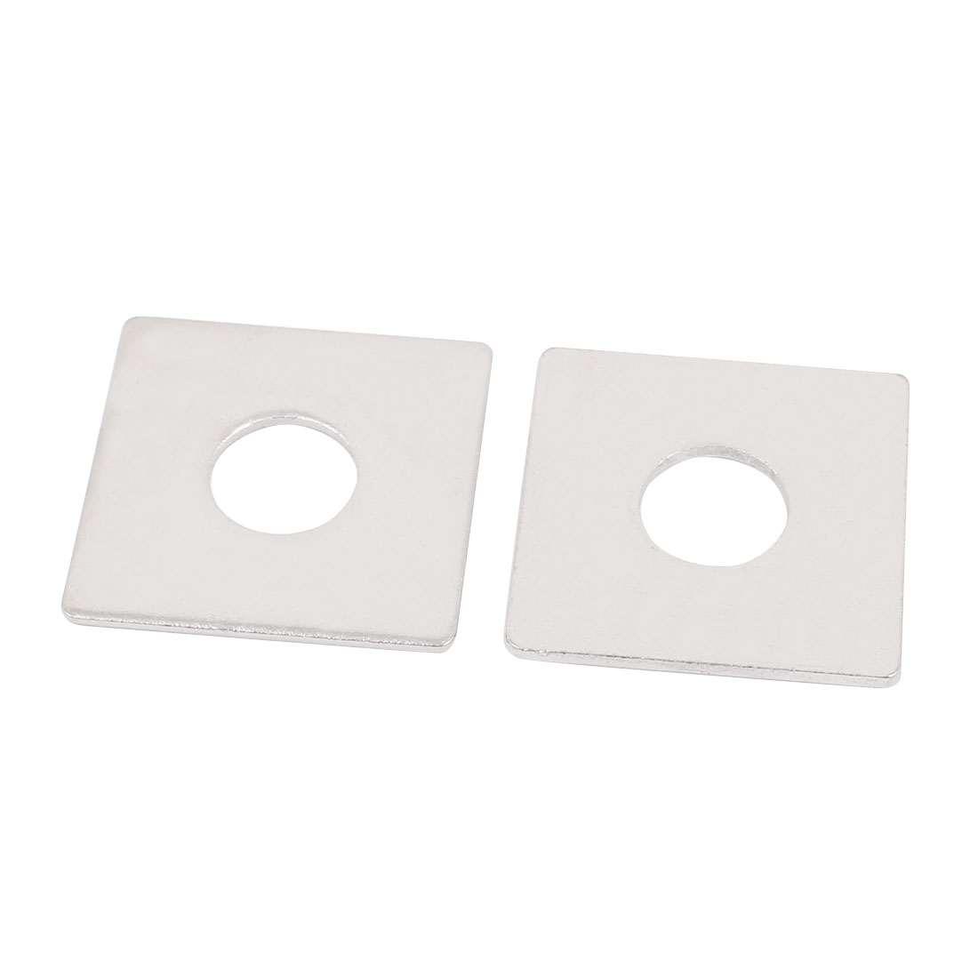 M14 x 40mm Square Stainless Steel Flat Repair Plate Silver Tone 2pcs