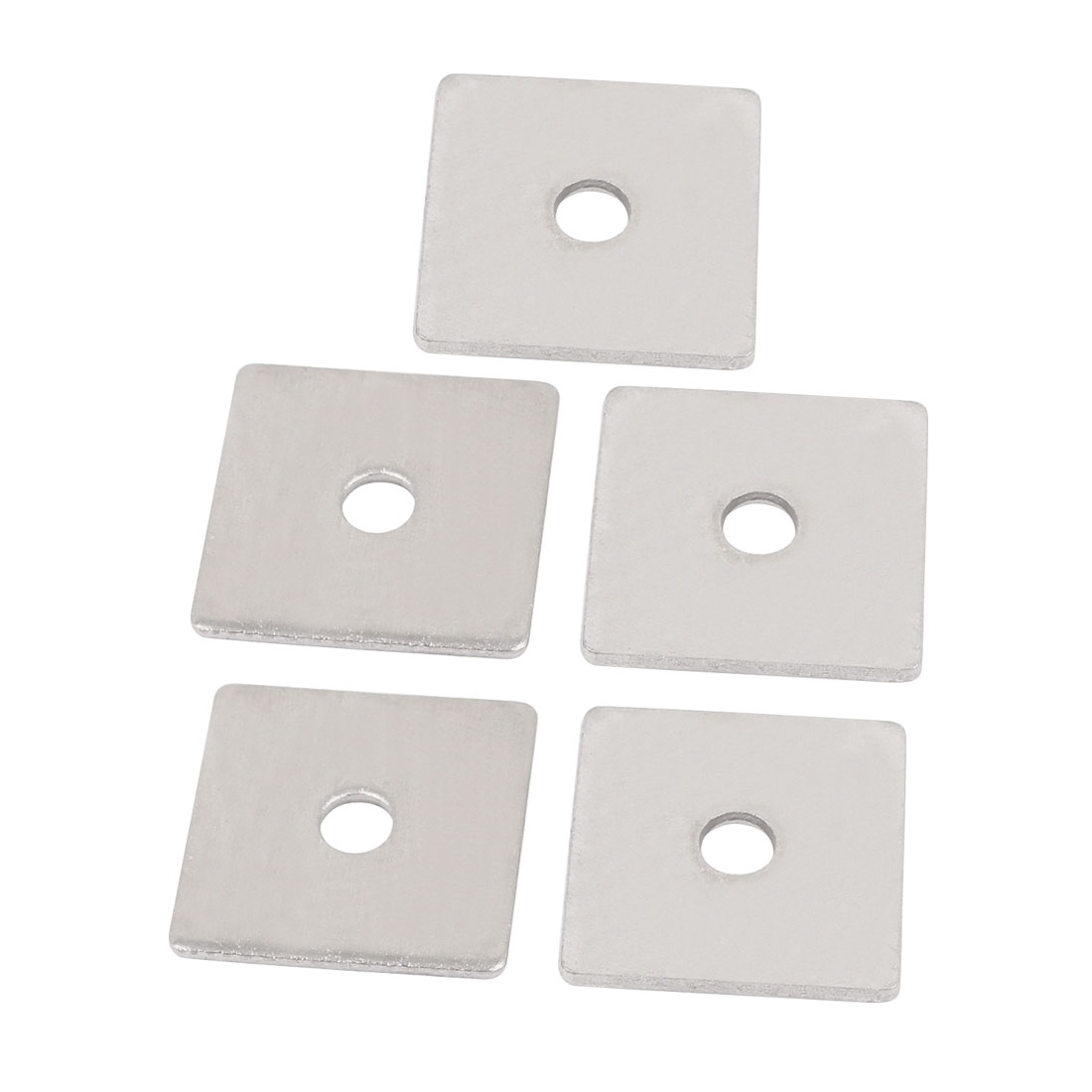 M6 x 30mm Square Stainless Steel Flat Repair Plate Silver Tone 5pcs