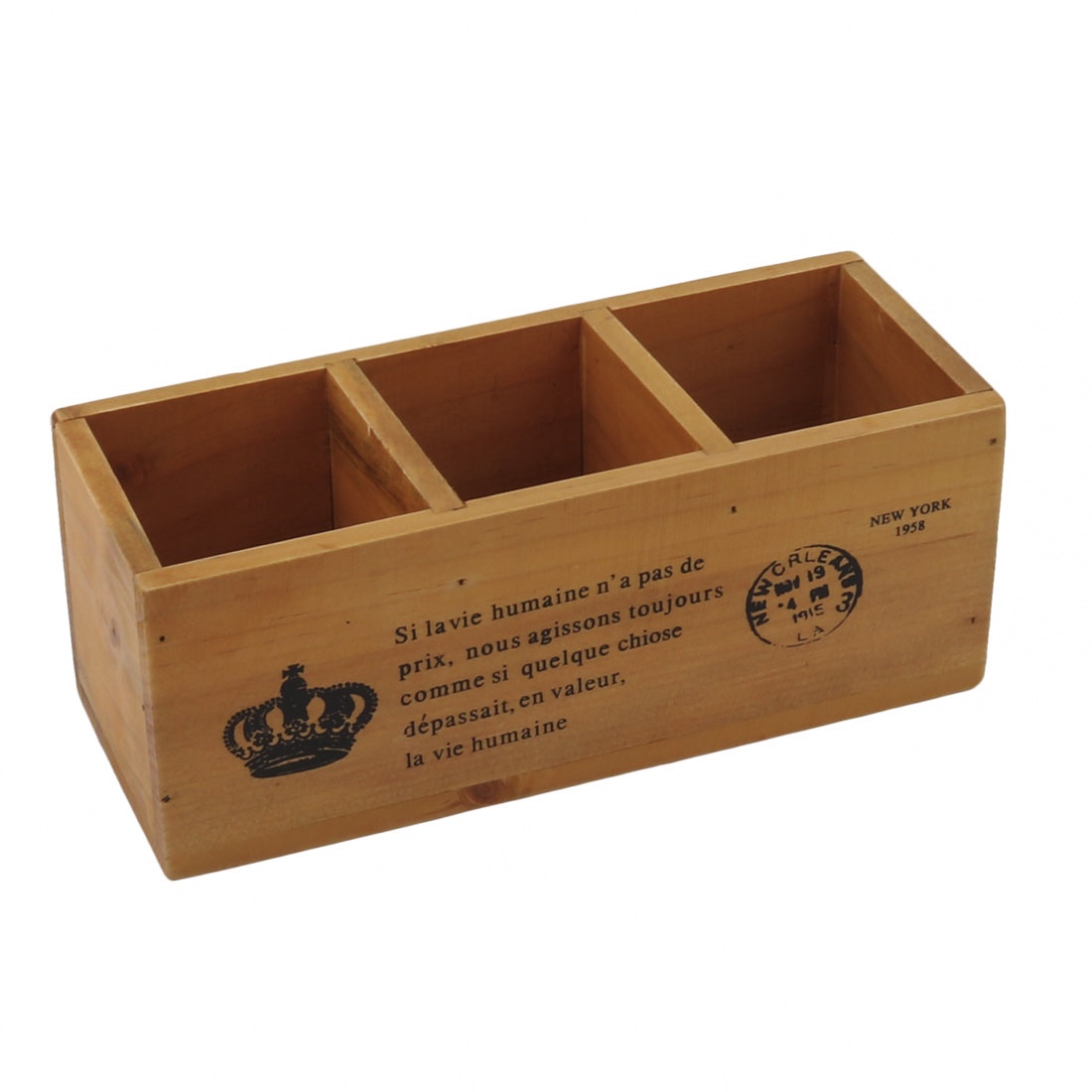 Wood 3 Slots Remote Control Sundries Storage Organizer Holder Wooden Color