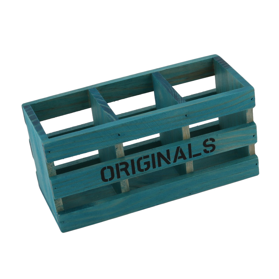 Wood 3 Slots Hollow Out Design Remote Control Sundries Organizer Holder Blue