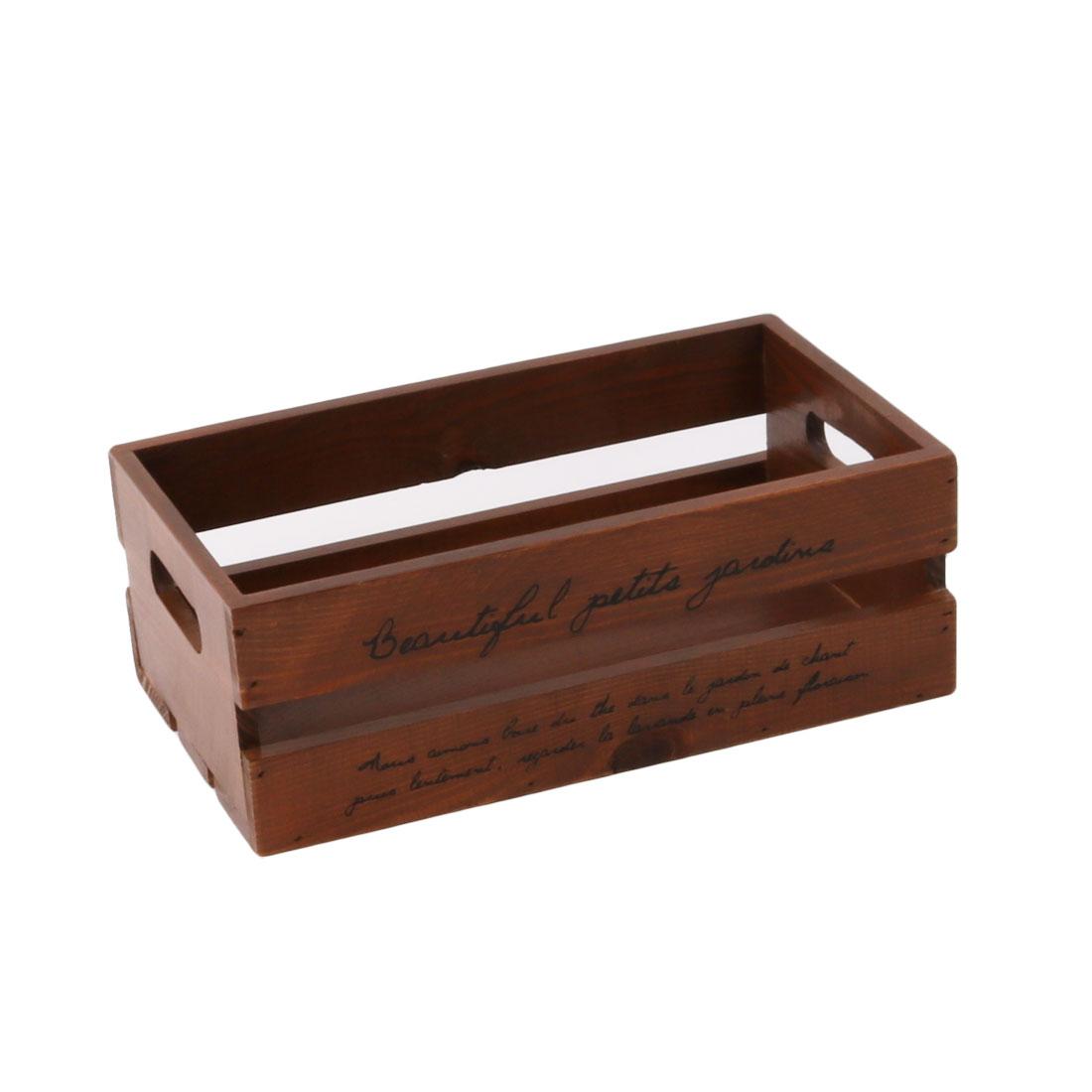 Hollow Out Design Remote Control Postcard Stationery Storage Organizer Box Brown
