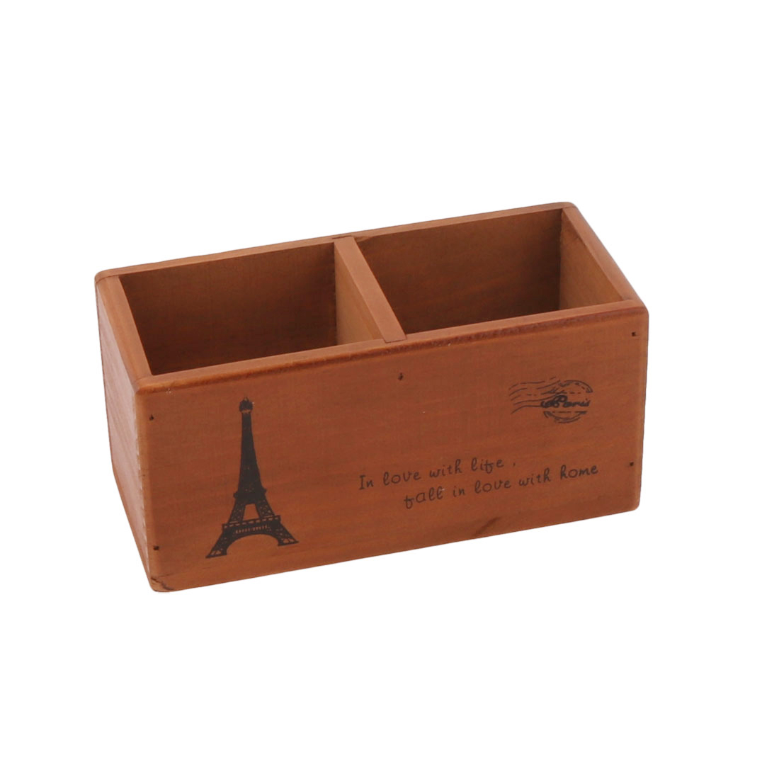 Wood 2 Compartments Remote Control Sundries Storage Organizer Holder Brown