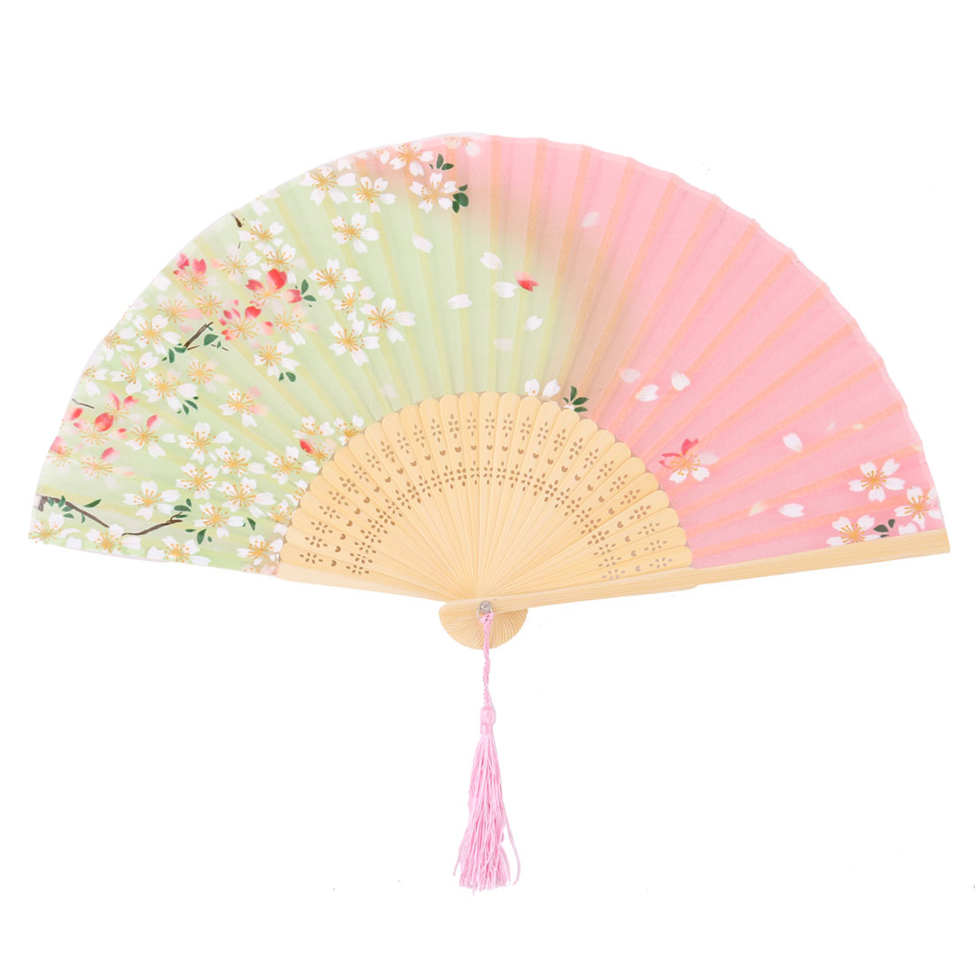 Lady Party Bamboo Frame Flower Pattern Hollow Ribs Attractive Purse Folding Fan