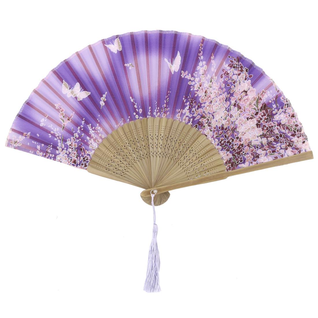 Ladies Bamboo Frame Flower Printed Wedding Party Dance Folding Fan Purple