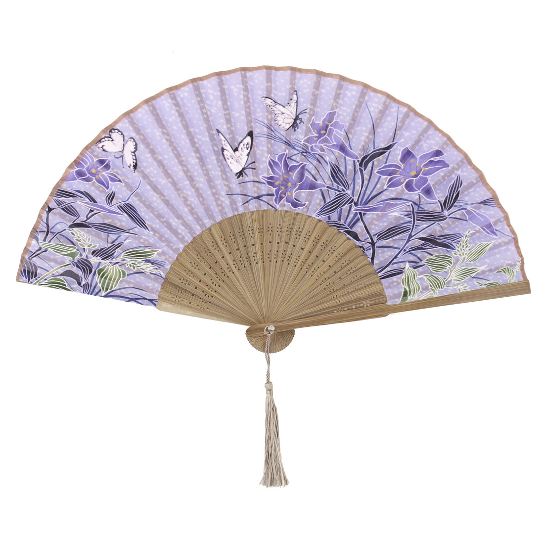 Ladies Bamboo Frame Morning Glory Printed Wedding Party Dance Folding Fan