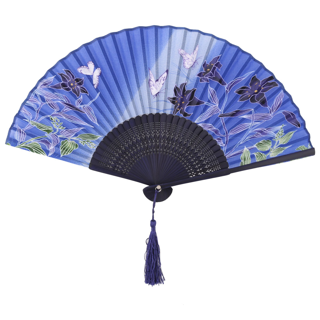 Women Party Dancing Bamboo Frame Floral Pattern Vintage Pocket Purse Folding Fan