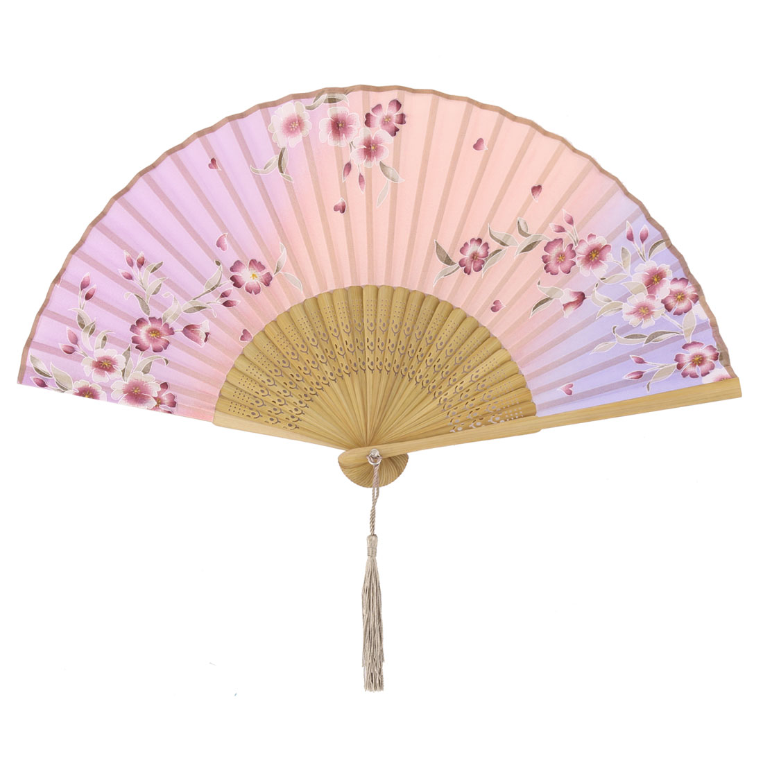 Lady Dancing Bamboo Frame Floral Pattern Tassel Pendant Folding Fan 21cm Length