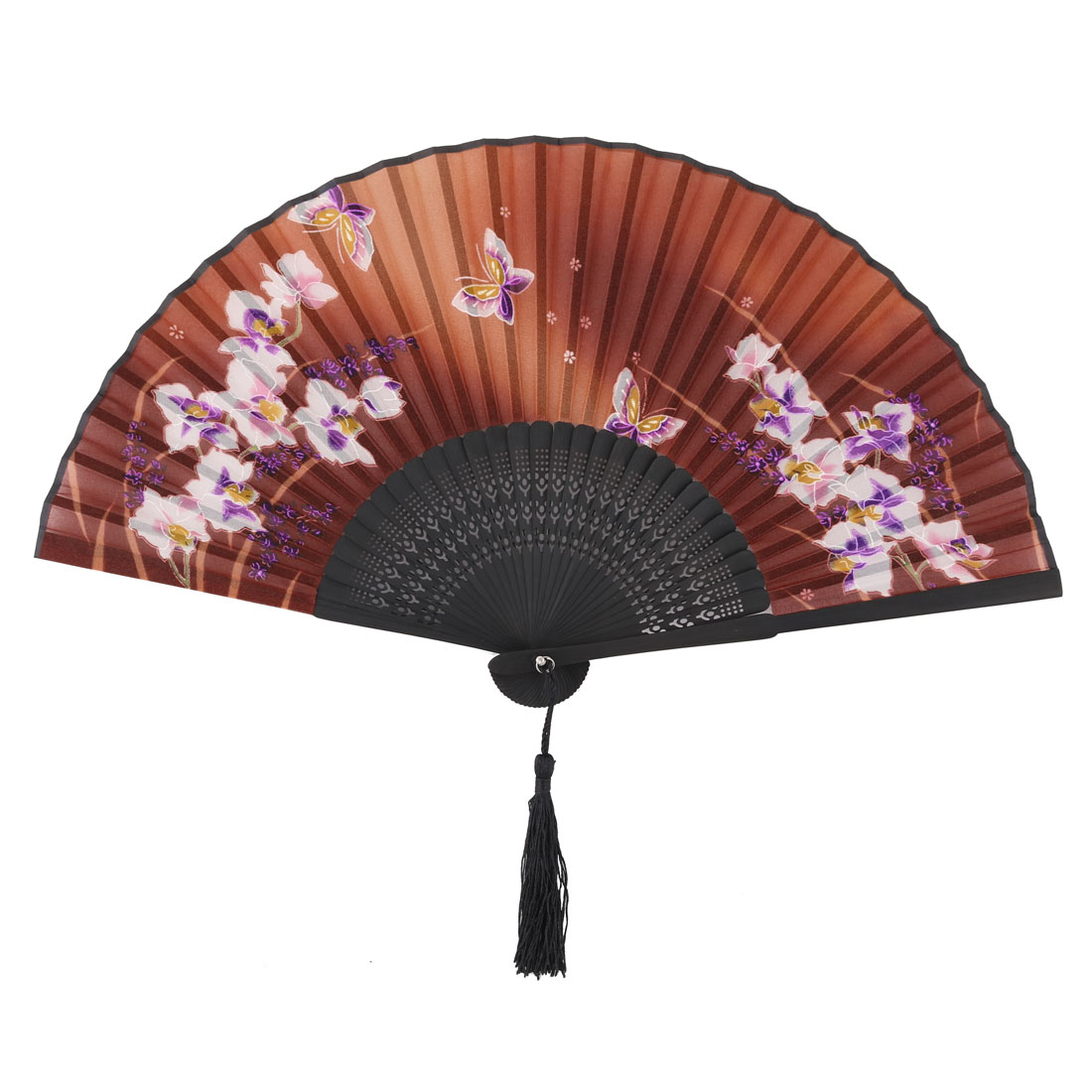 Ladies Bamboo Rib Butterfly Flower Pattern Dancing Folding Fan Assorted Color