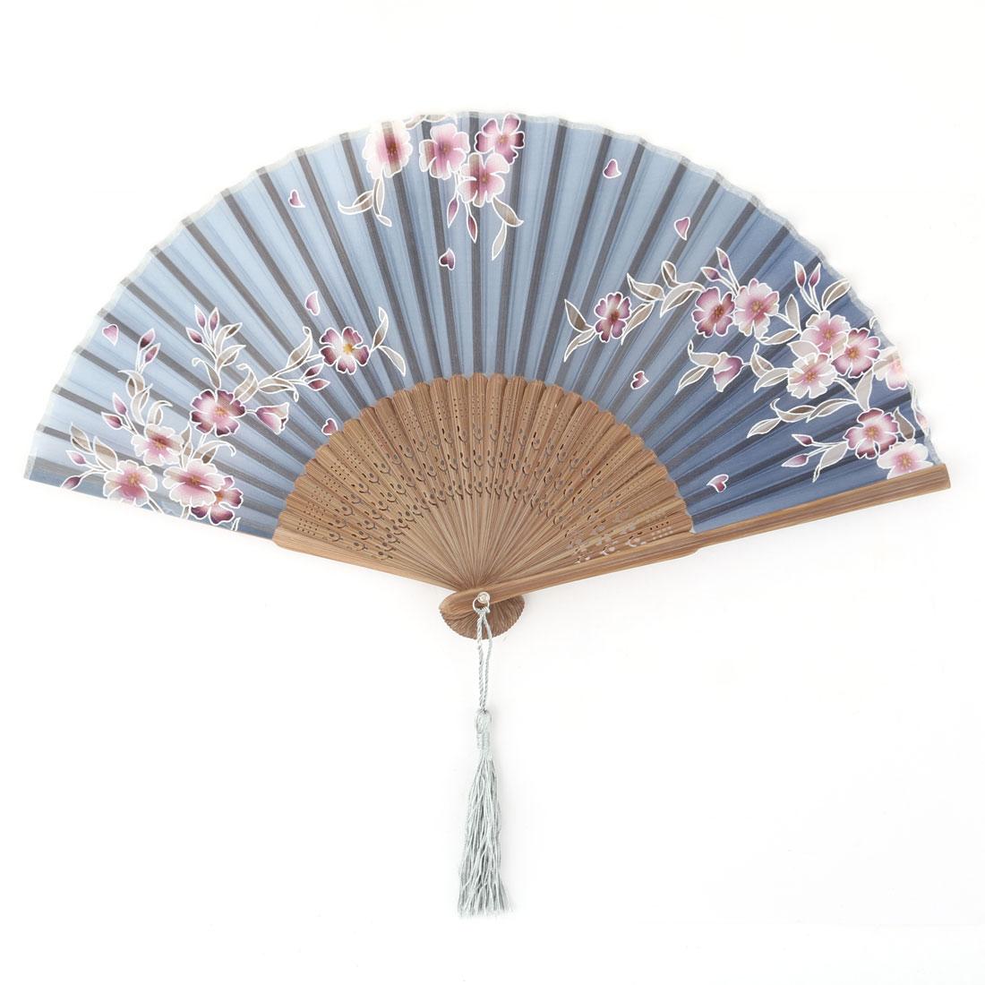 Women Dancing Bamboo Fan Ribs Floral Pattern Retro Style Folding Handing 21cm Length