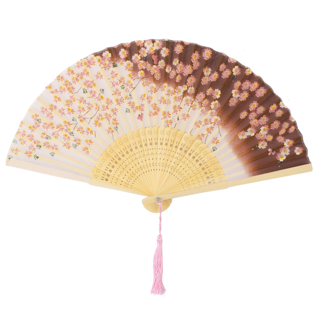 Lady Party Bamboo Frame Flower Pattern Chinese Exquisite Hollow Ribs Folding Fan