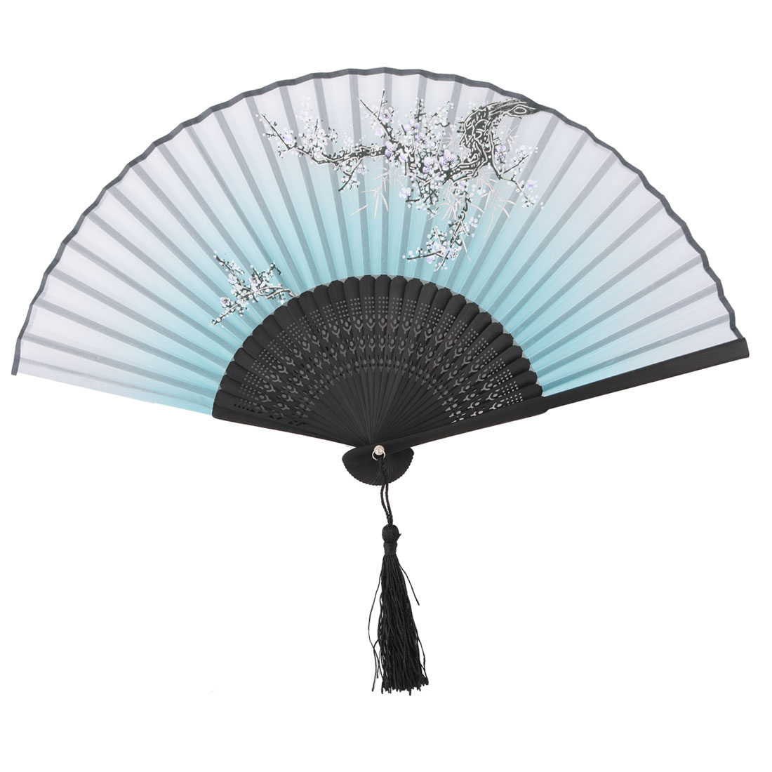 Ladies Party Dancing Bamboo Frame Plum Flower Pattern Portable Folding Fan Teal