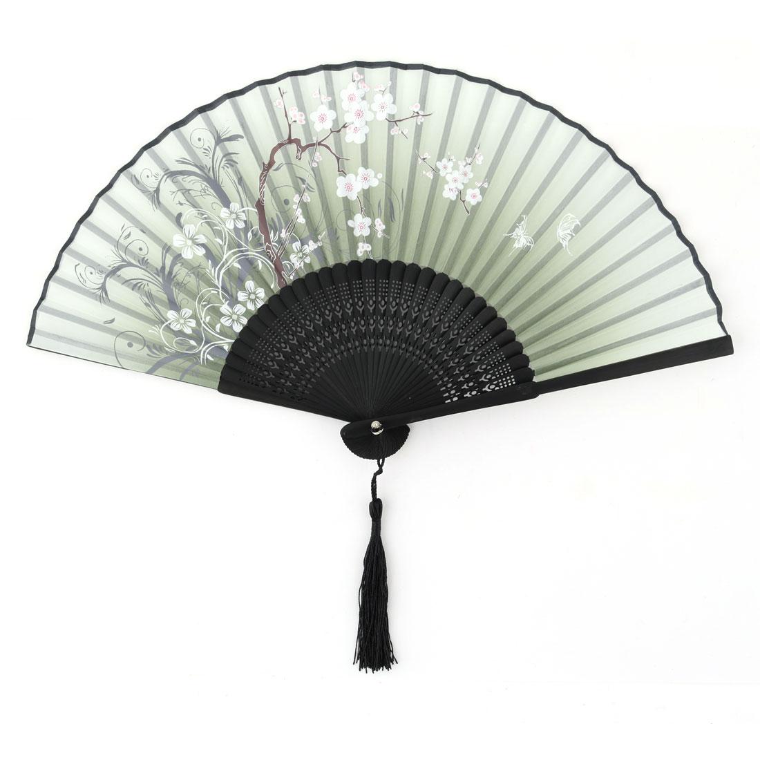 Household Bamboo Frame Flower Pattern Handcraft Gift Folding Fan Multicolor