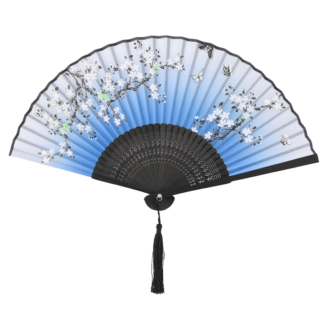 Household Party Ball Plum Blossom Pattern Tassel Vintage Pocket Folding Fan Blue