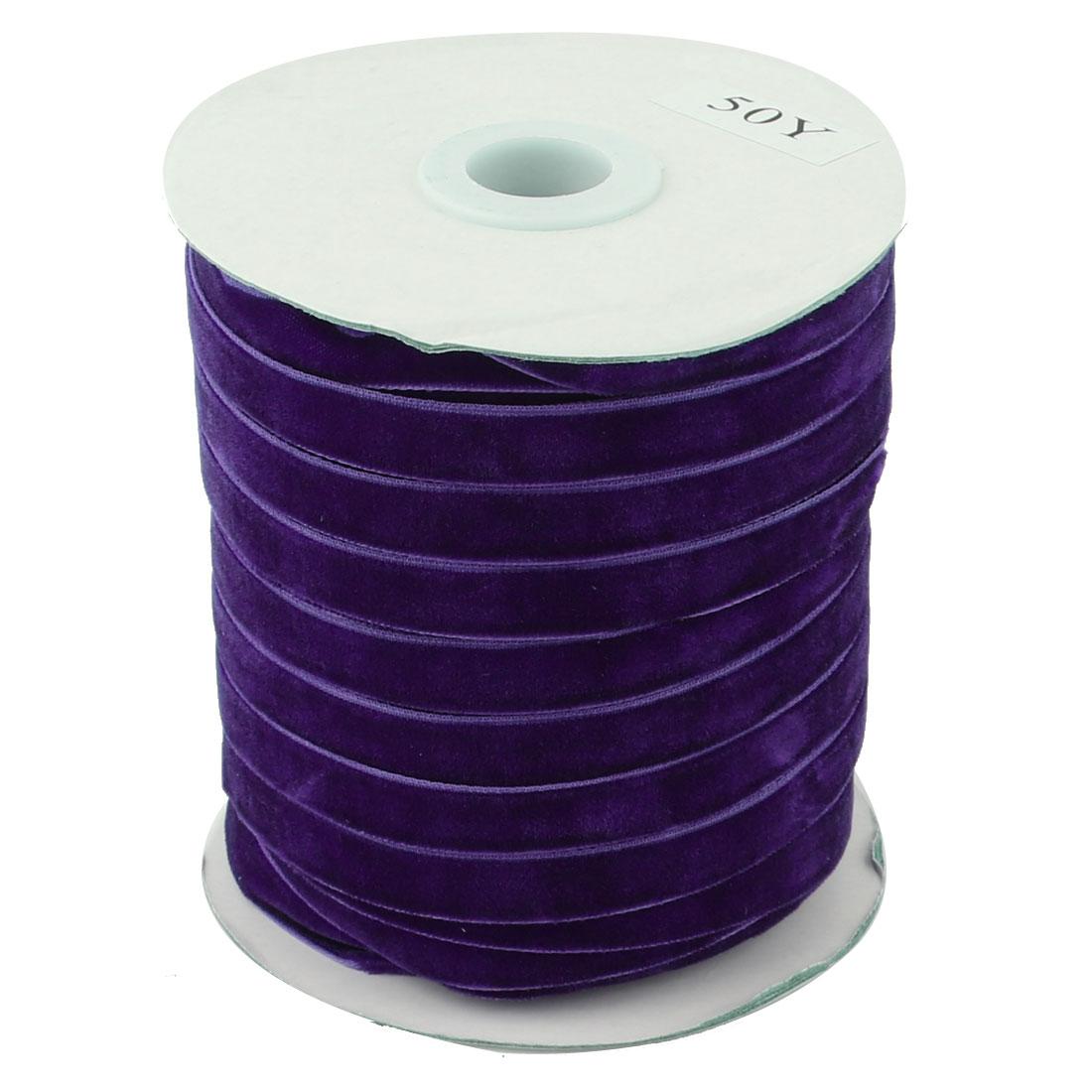 Festival Party Decoration Velvet Ribbon Round Roll Dark Purple 50 Yard 1cm Width