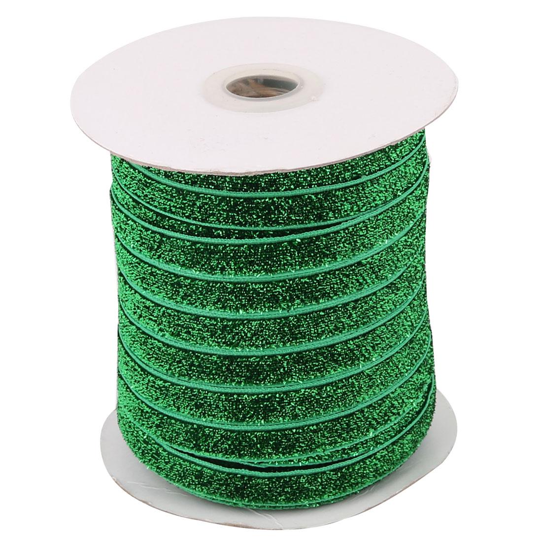 Household Festival Decor Velvet Sparkle Ribbon Headband DIY Craft Green 50 Yard