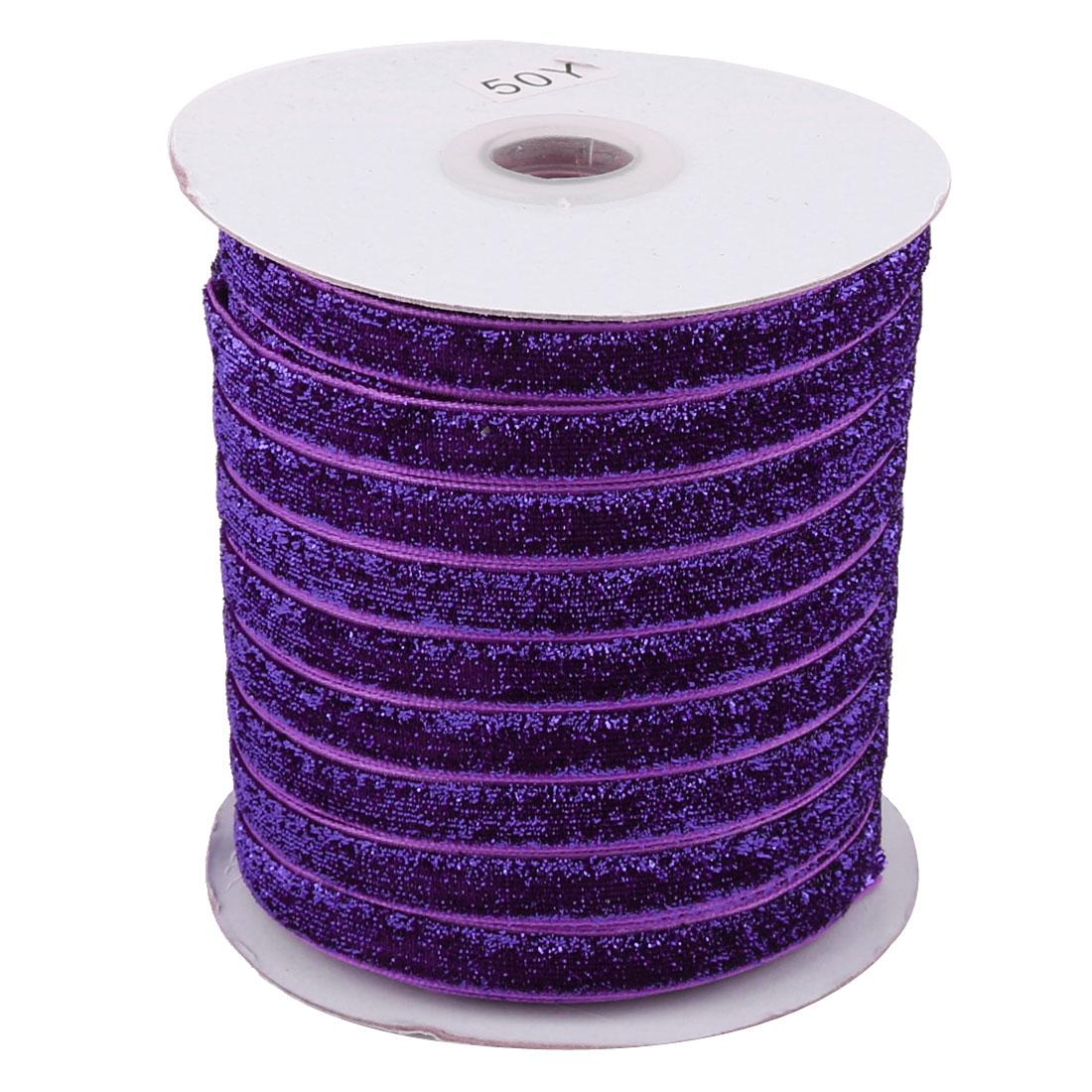 Festival Decoration Velvet Bling Ribbon DIY Gift Headband Dark Purple 50 Yard 1cm Width