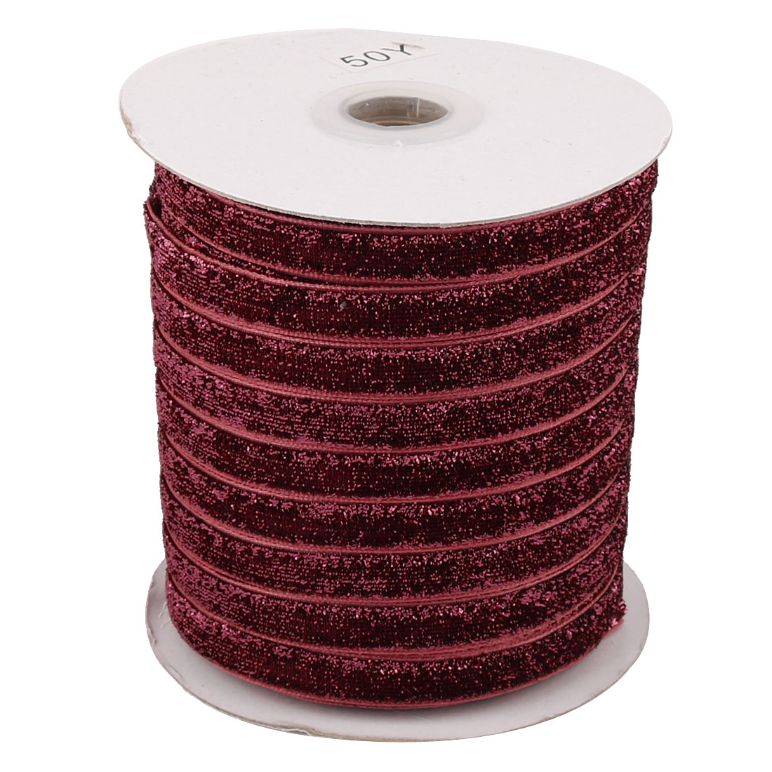 Festival Decoration Velvet Bling Ribbon DIY Gift Headband Dark Red 50 Yard 1cm Width