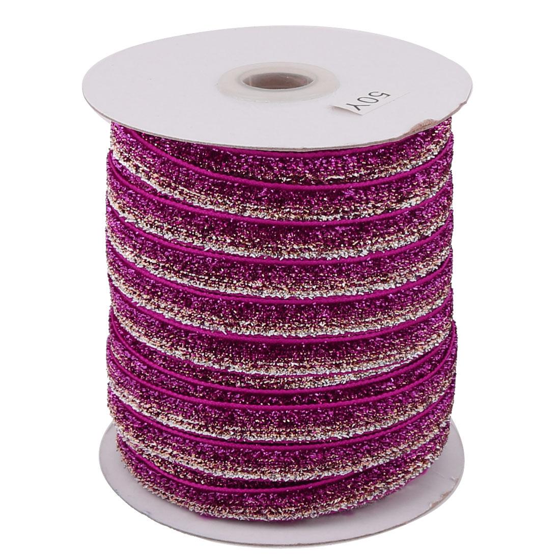 Family Decoration Velvet Bling Ribbon Multifunction DIY Handcraft Fuchsia Silver Tone