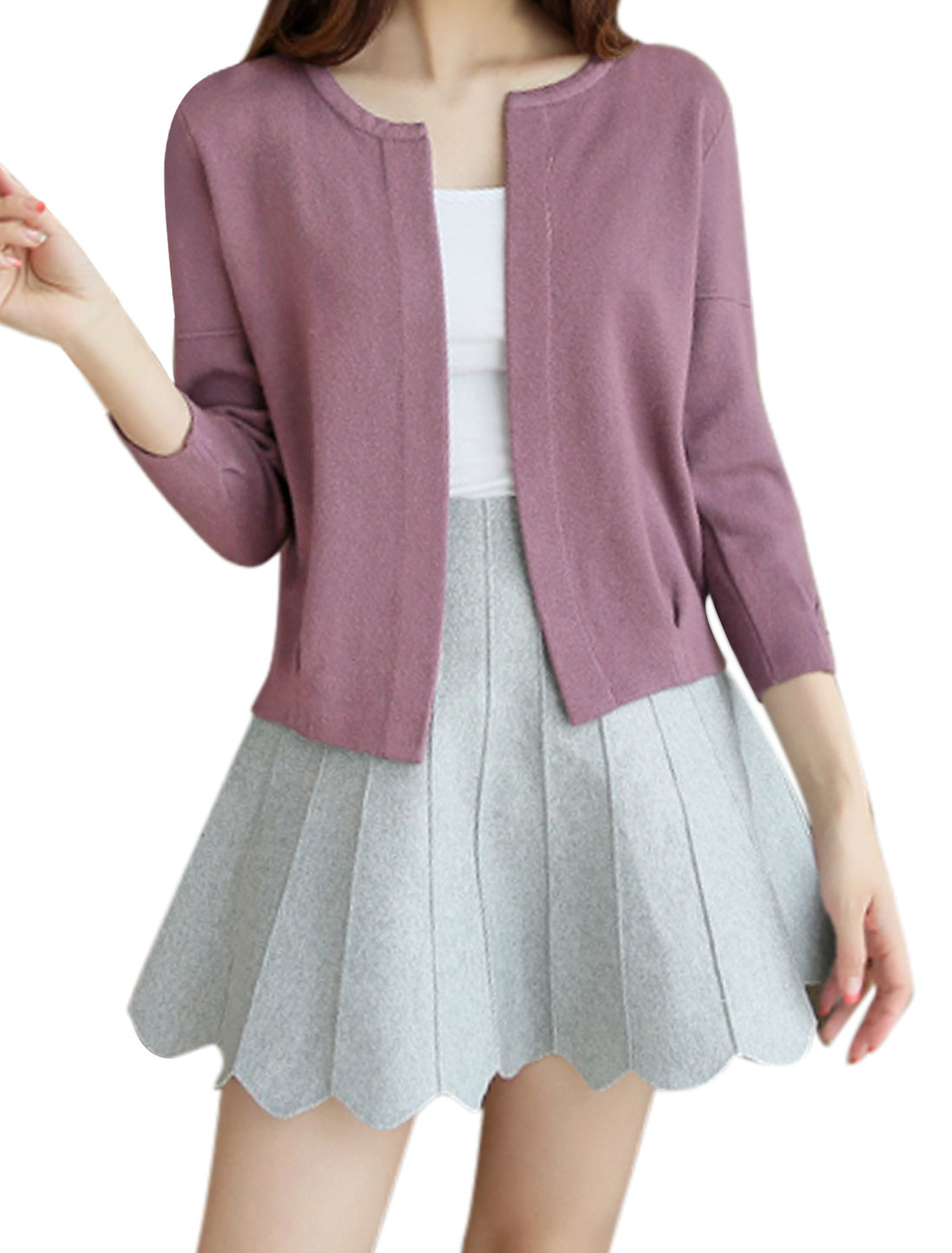 Women Long Sleeves Open Front Inverted Pleated Detail Loose Knit Cardigan Purple XS
