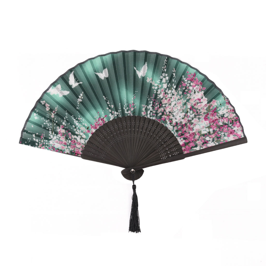 Women Party Bamboo Frame Butterfly Floral Print Portable Folding Fan Multicolor