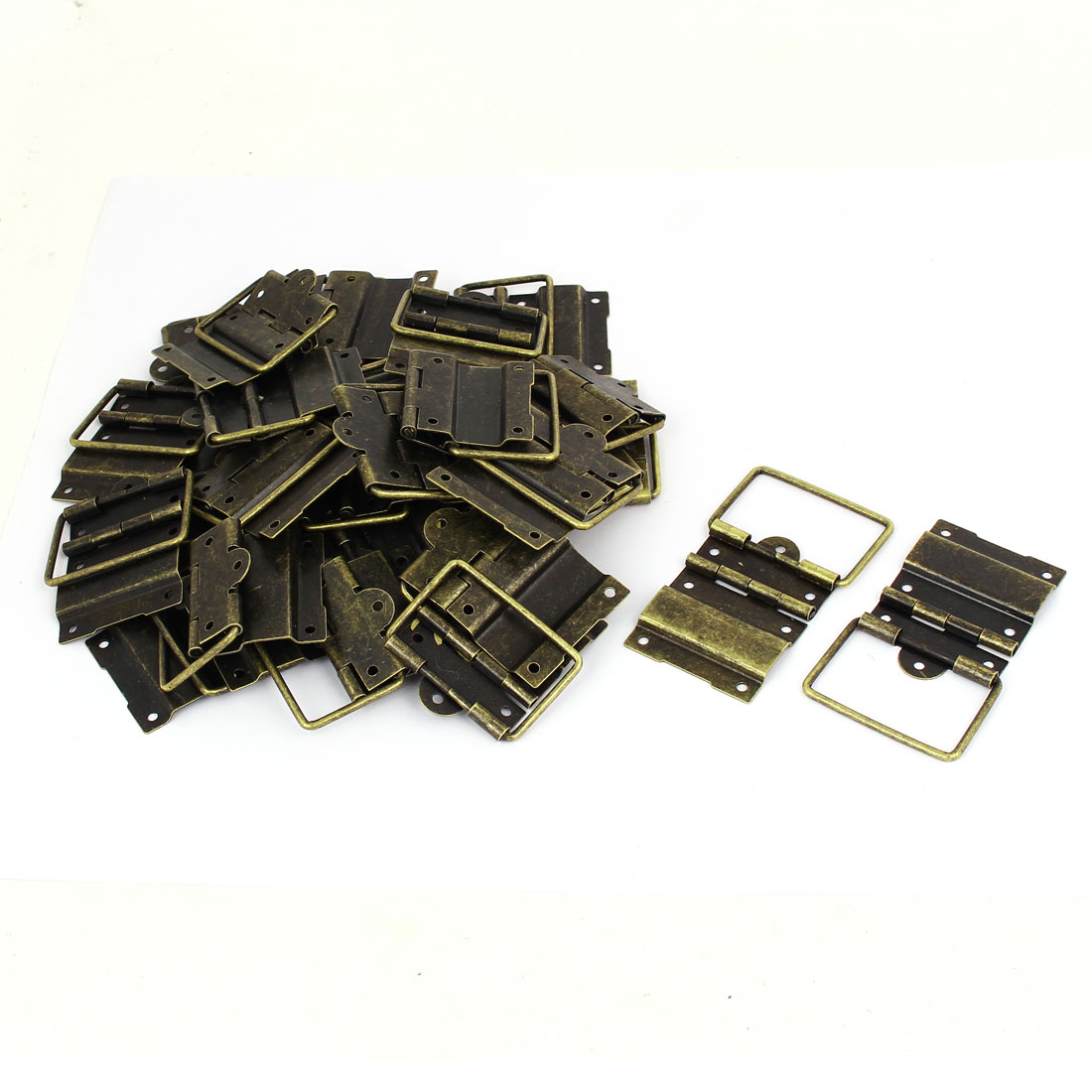 Box Case Retro Style Positioning Support Hinges Bronze Tone 57mmx41mm 30pcs
