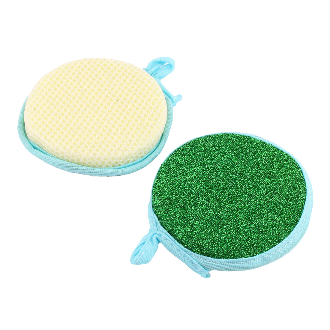 Household Kitchen Round Shape Dish Cloth Cleaning Tool Scrubber Green 2 Pcs