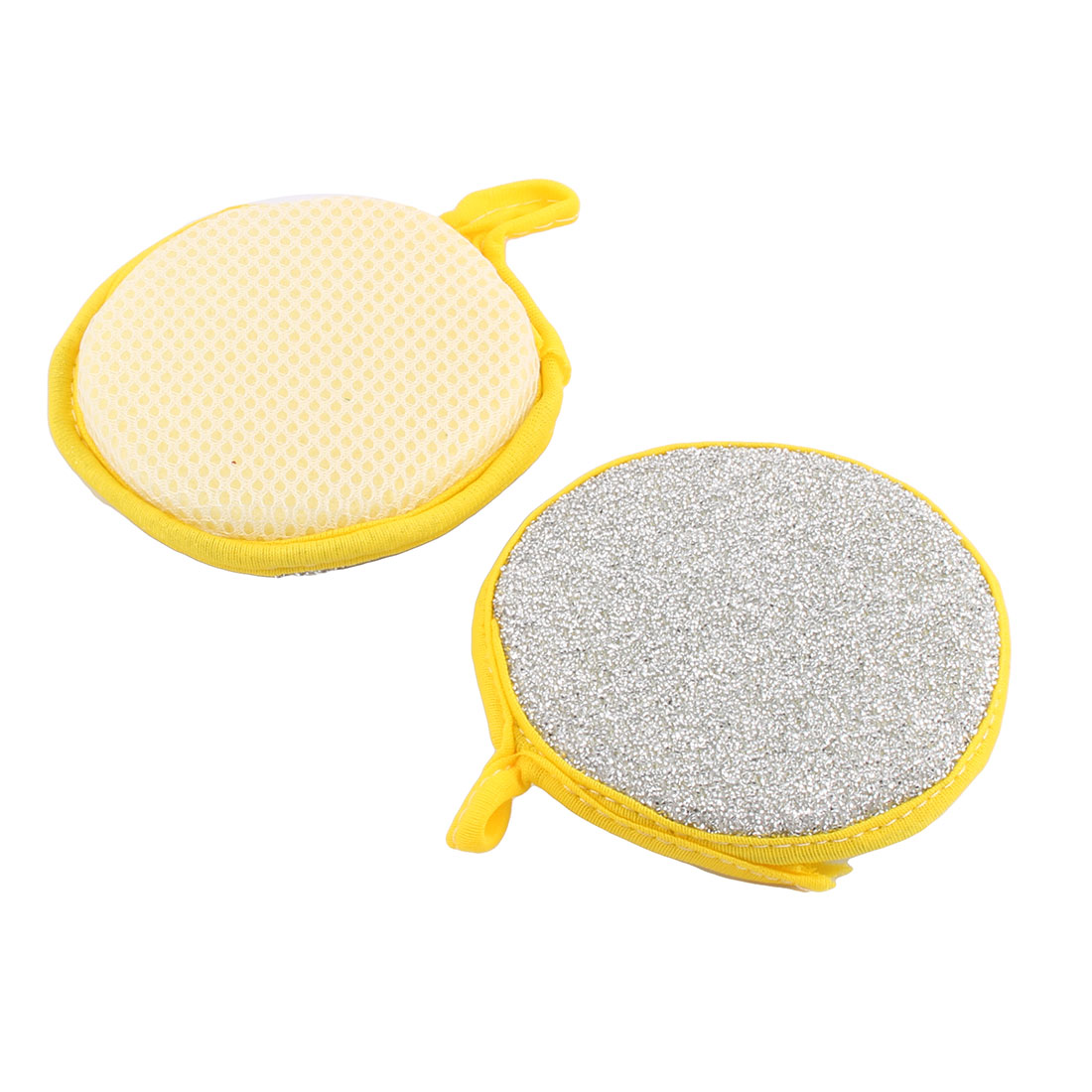 Household Kitchen Round Shape Dish Cloth Cleaning Tool Scrubber Silver Tone 2 Pcs