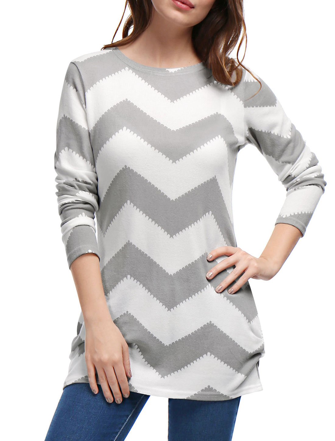 Woman Zig-Zag Pattern Knitted Relax Fit Tunic Top Gray White L