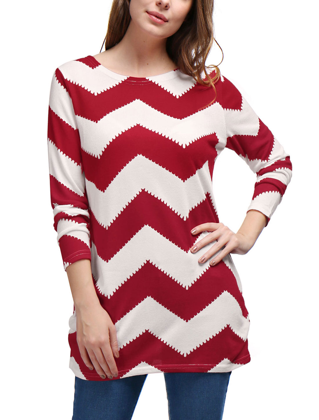 Woman Zig-Zag Pattern Knitted Relax Fit Tunic Top Red White XS