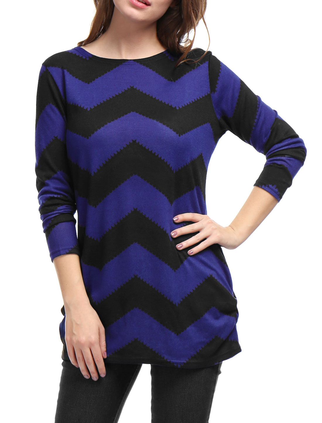 Allegra K Woman Zig-Zag Pattern Knitted Relax Fit Tunic Top Black Blue S