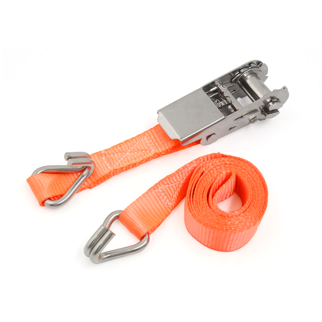 25mm x 2m Orange Polyester Double J-Hooks Ratchet Tie Down Cargo Straps for Car