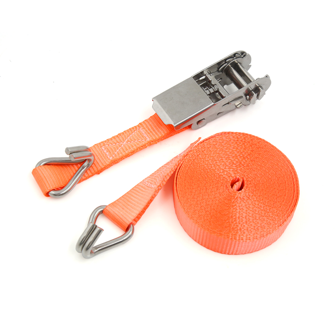 25mm x 7m Orange Polyester Double Hooks Ratchet Tie Down Cargo Straps for Car